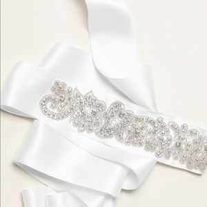 NWT David's Bridal Crystal Sash - White